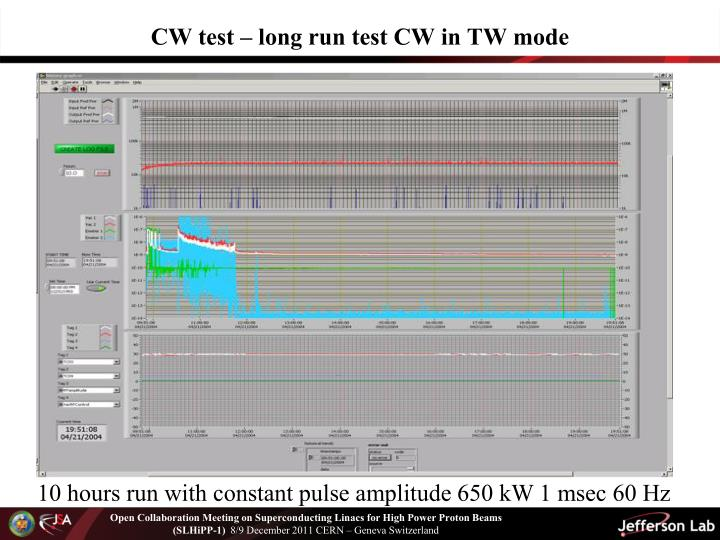 CW test – long run test CW in TW mode