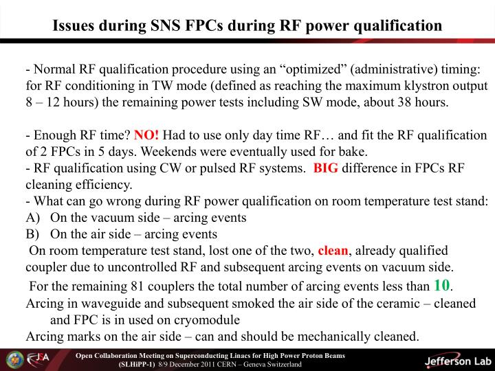 Issues during SNS FPCs during RF power qualification