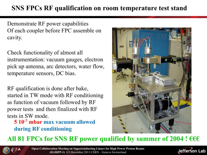 SNS FPCs RF qualification on room temperature test stand