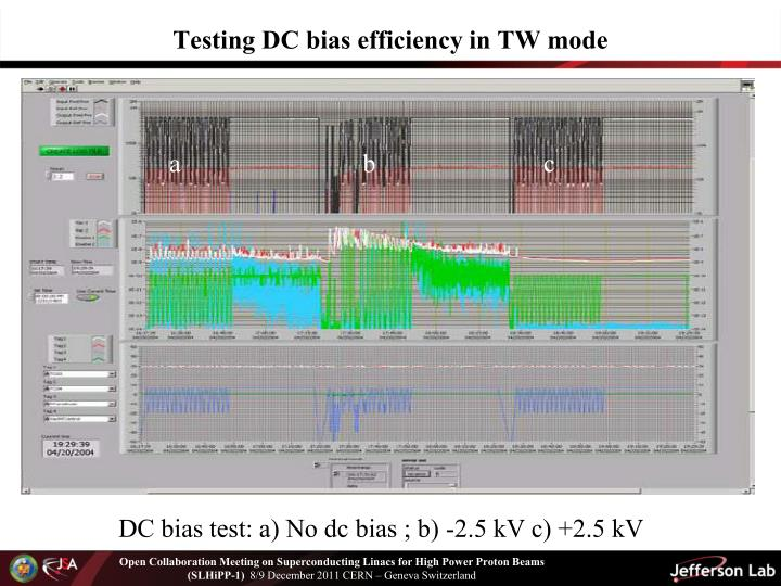 Testing DC bias efficiency in TW mode