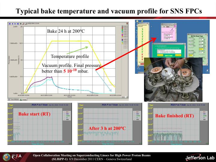 Typical bake temperature and vacuum profile for SNS FPCs