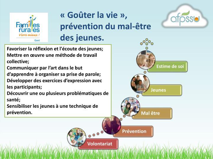 «Goûter la vie», prévention du mal-être des jeunes.