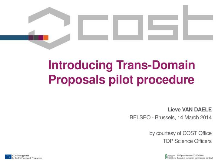 Introducing Trans-Domain Proposals pilot procedure
