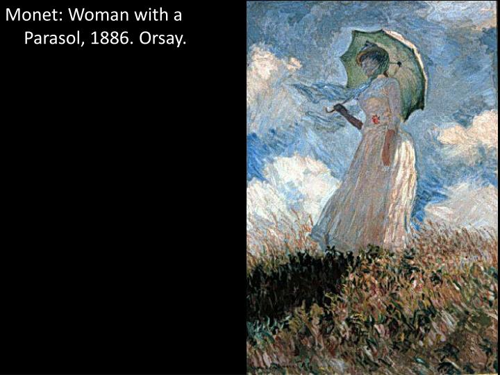 Monet: Woman with a Parasol, 1886. Orsay.