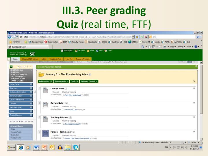 III.3. Peer grading
