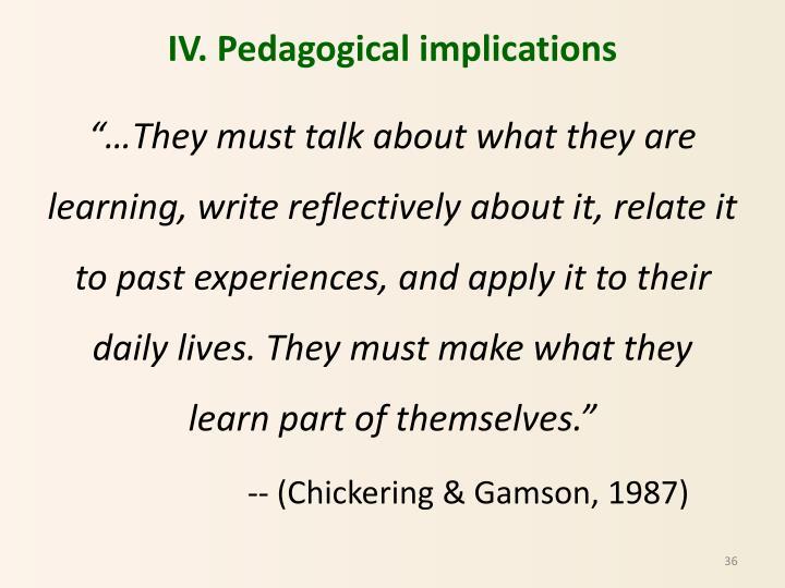IV. Pedagogical implications