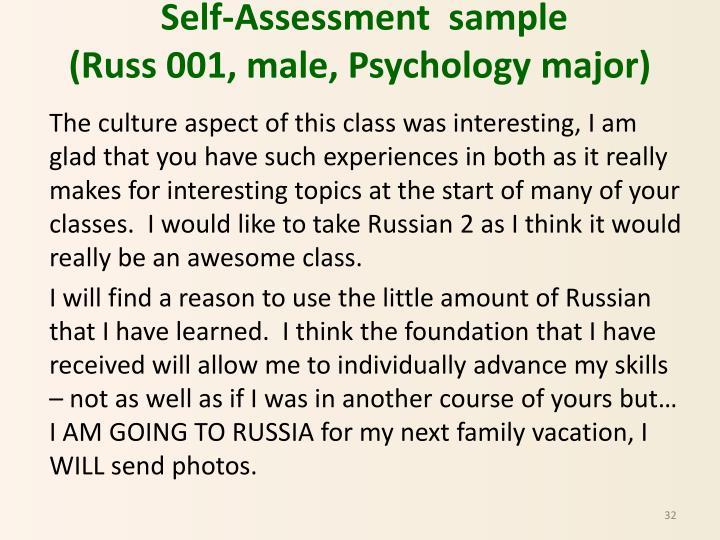 Self-Assessment  sample
