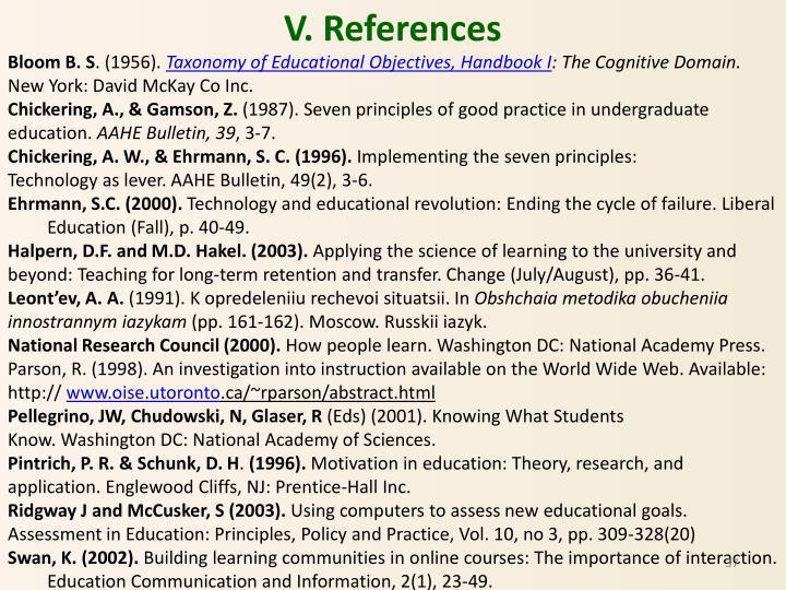 V. References