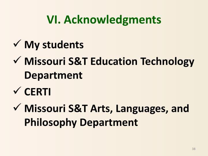 VI. Acknowledgments