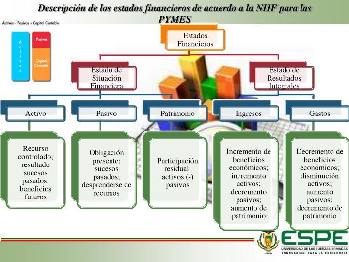 Descripción de los estados financieros de acuerdo a la NIIF para las PYMES