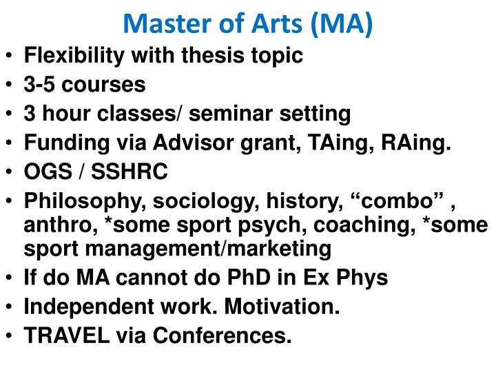 Master of Arts (MA)