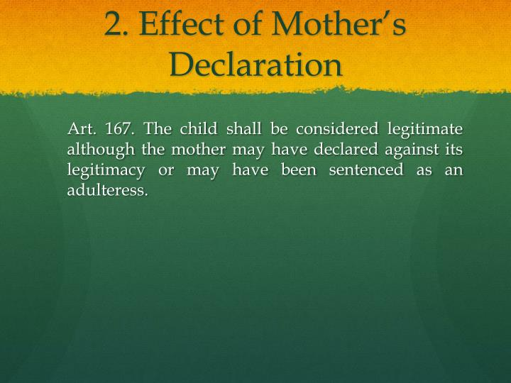 2. Effect of Mother's