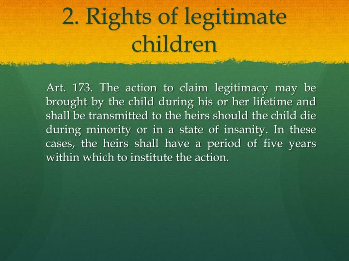 2. Rights of legitimate children