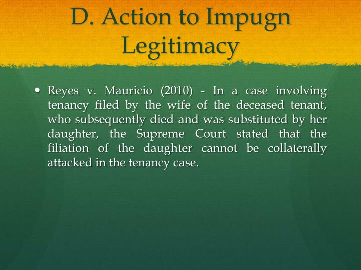 D. Action to Impugn Legitimacy