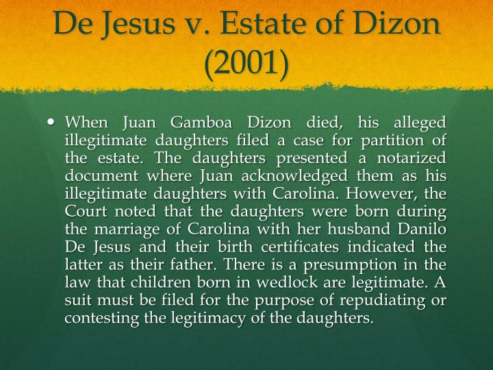De Jesus v. Estate of