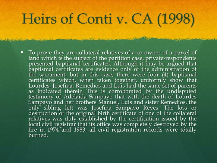 Heirs of Conti v. CA (1998)