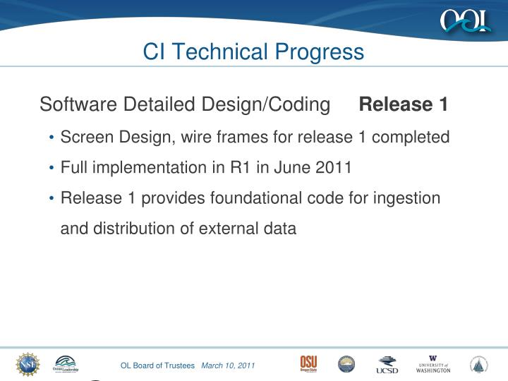 CI Technical Progress