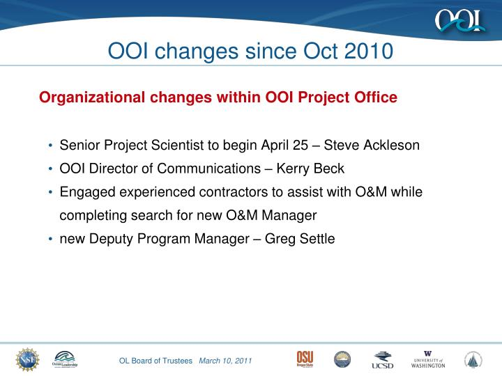 OOI changes since Oct 2010