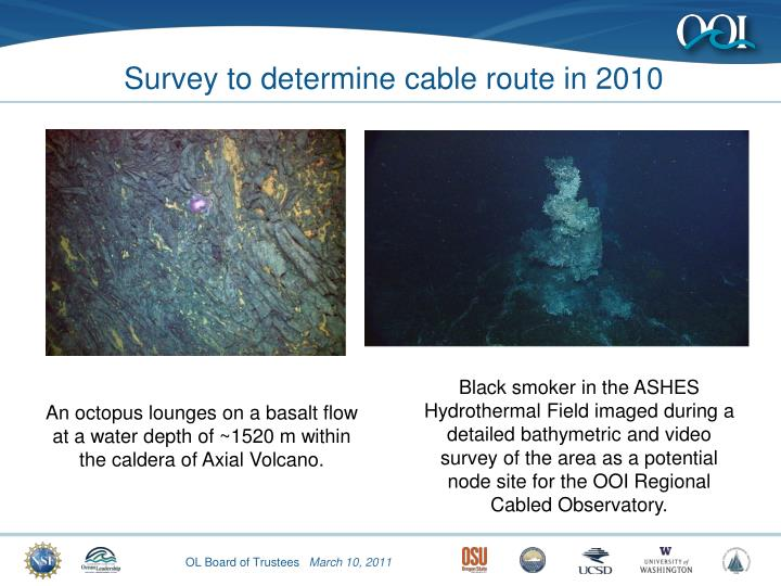Survey to determine cable route in 2010