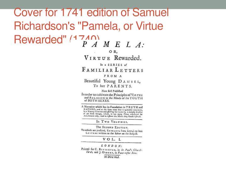 "Cover for 1741 edition of Samuel Richardson's ""Pamela, or Virtue Rewarded"" (1740)."