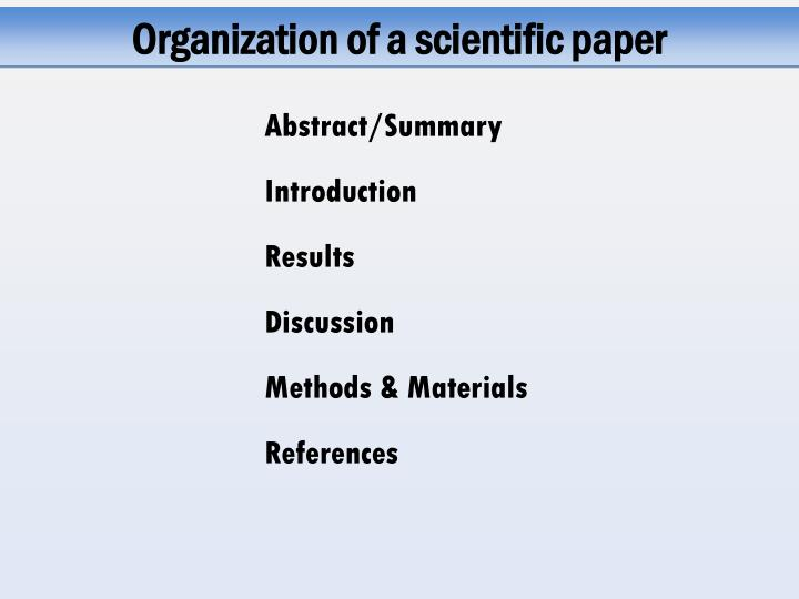 Organization of a scientific paper