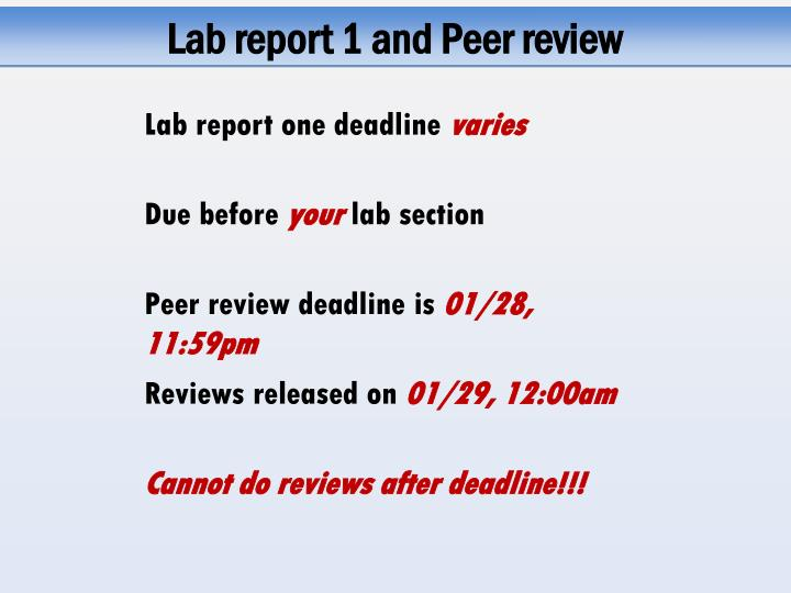 Lab report 1 and Peer review