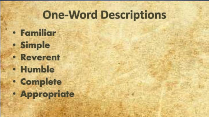 One word descriptions