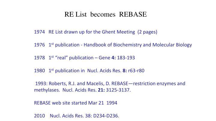 RE List  becomes  REBASE
