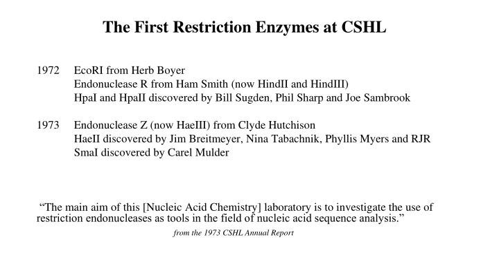 The First Restriction Enzymes at CSHL