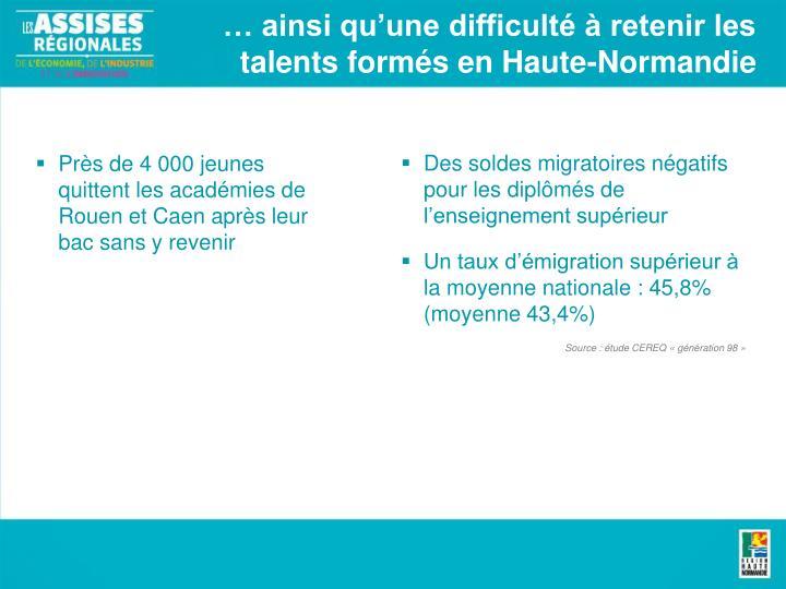 … ainsi qu'une difficulté à retenir les talents formés en Haute-Normandie