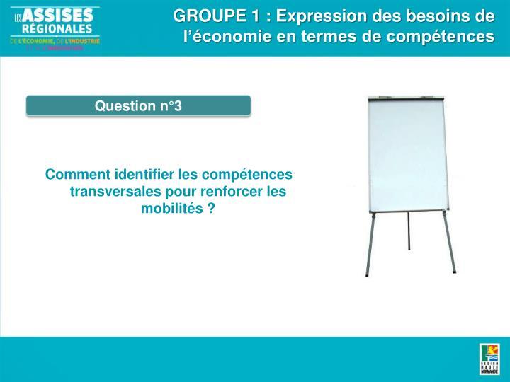 GROUPE 1 : Expression des besoins de l'économie en termes de compétences