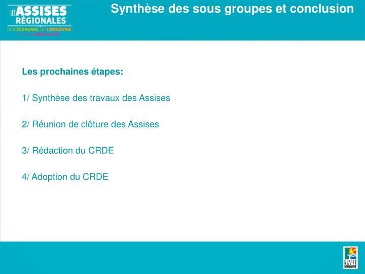 Synthèse des sous groupes et conclusion