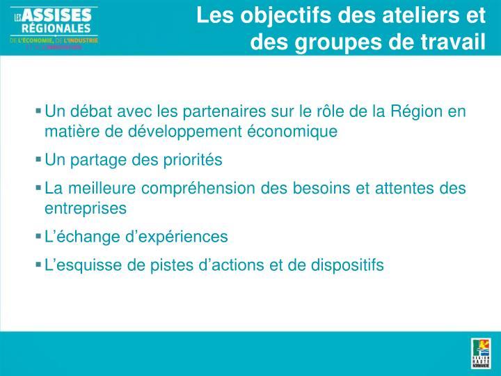Les objectifs des ateliers et des groupes de travail