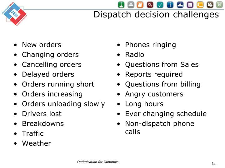Dispatch decision challenges