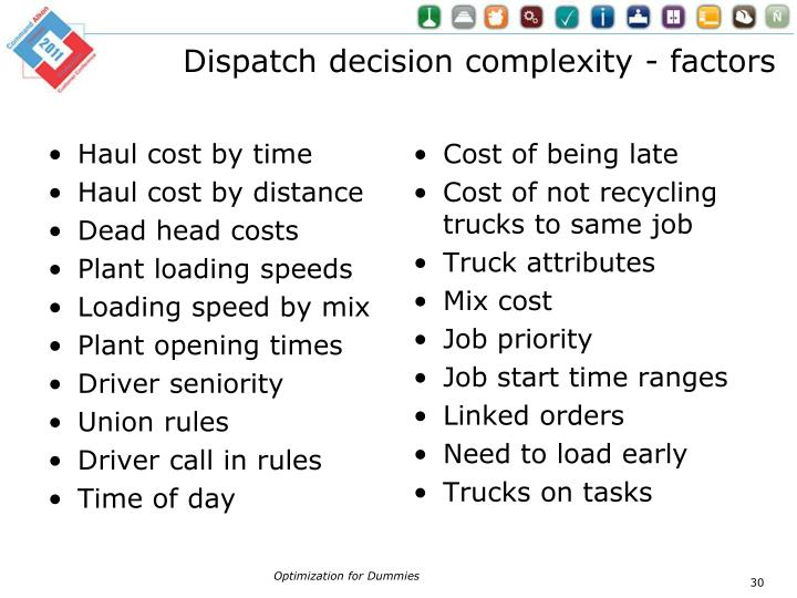 Dispatch decision complexity - factors