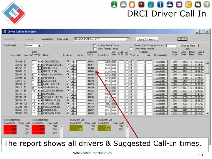 DRCI Driver Call In