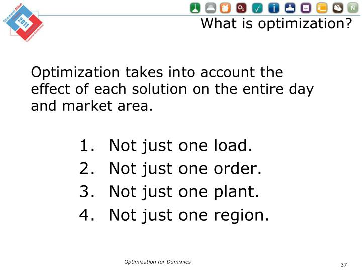 Optimization takes into account the effect of each solution on the entire day and market area.