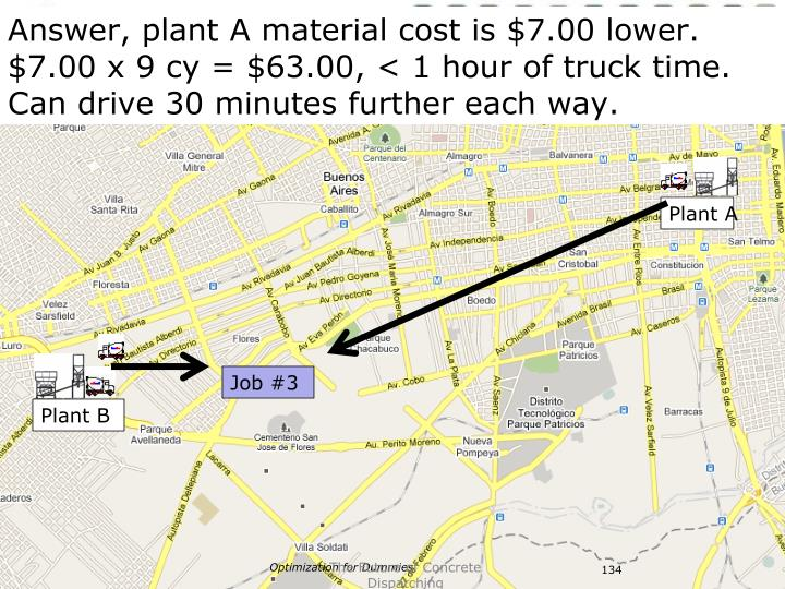 Answer, plant A material cost is $7.00 lower.