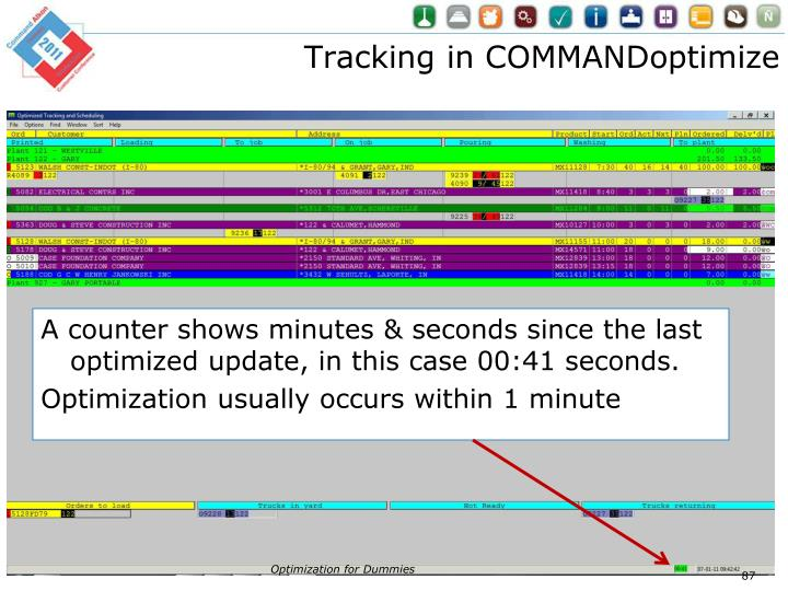Tracking in COMMANDoptimize