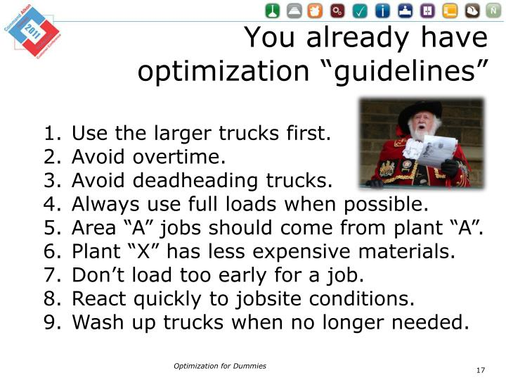 "You already have optimization ""guidelines"""