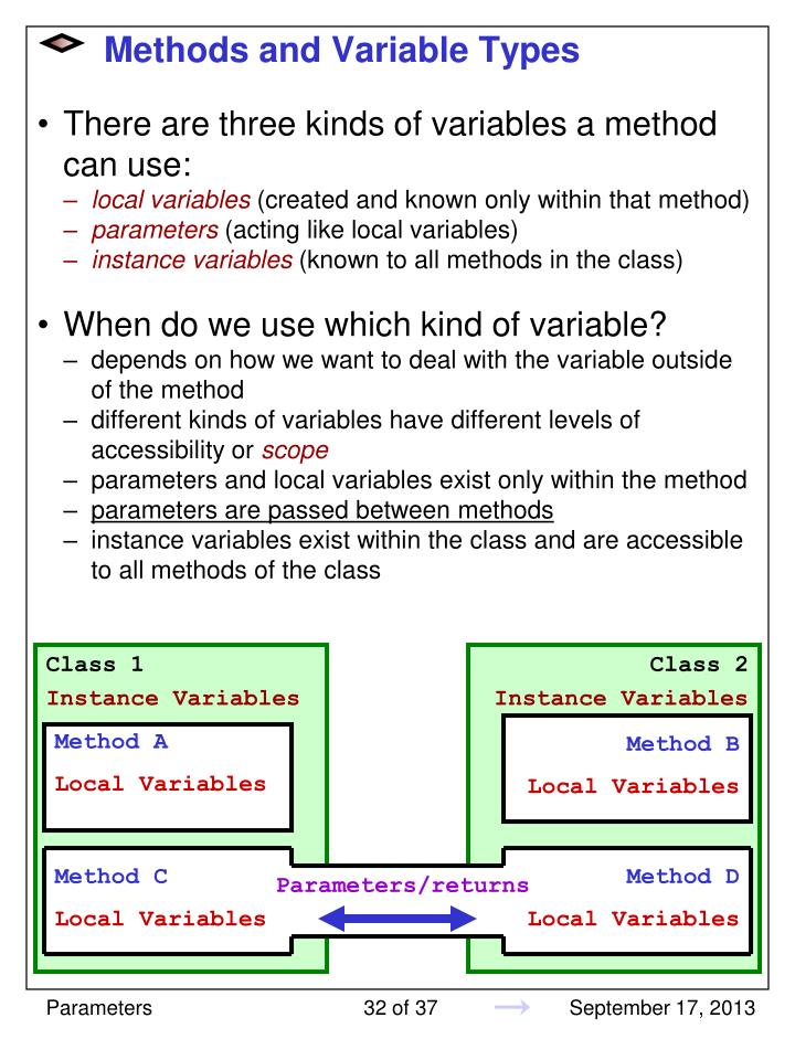 Methods and Variable Types