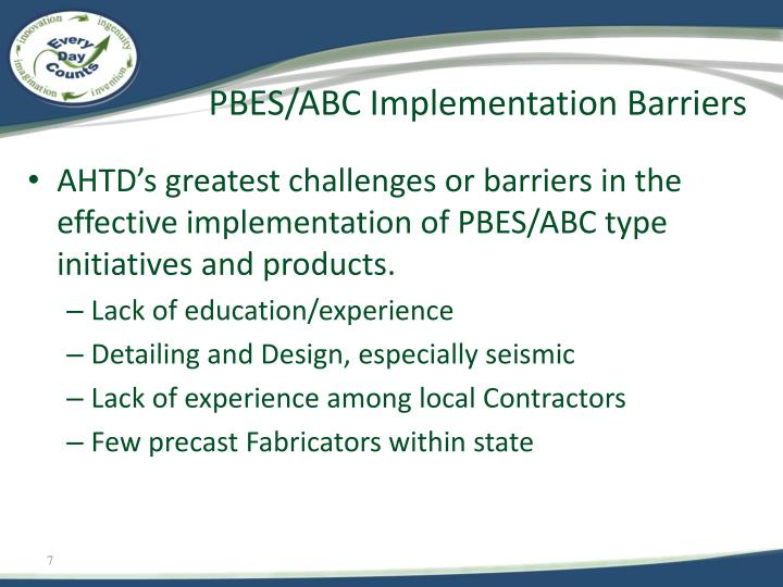 PBES/ABC Implementation Barriers