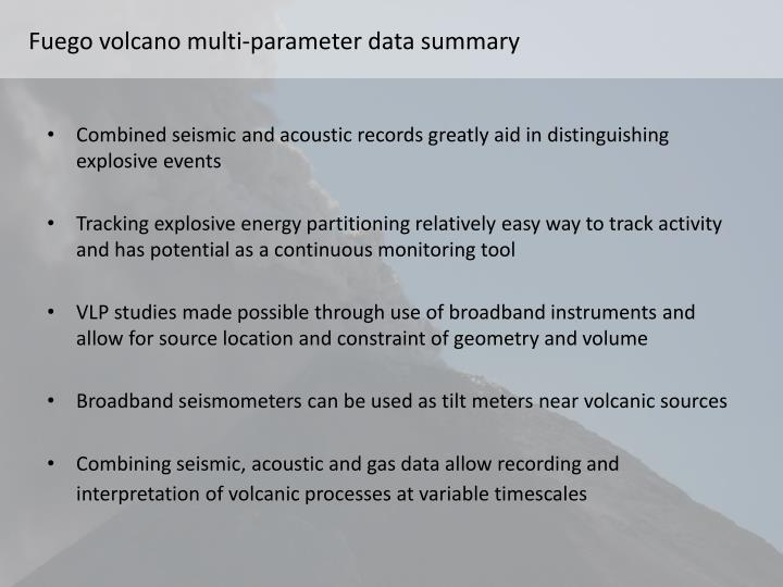 Fuego volcano multi-parameter data summary