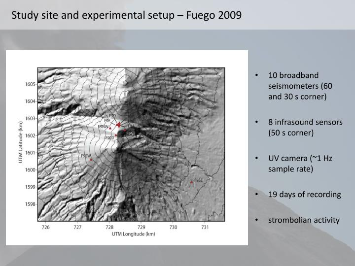 Study site and experimental setup – Fuego 2009
