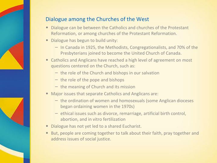 Dialogue among the Churches of the West