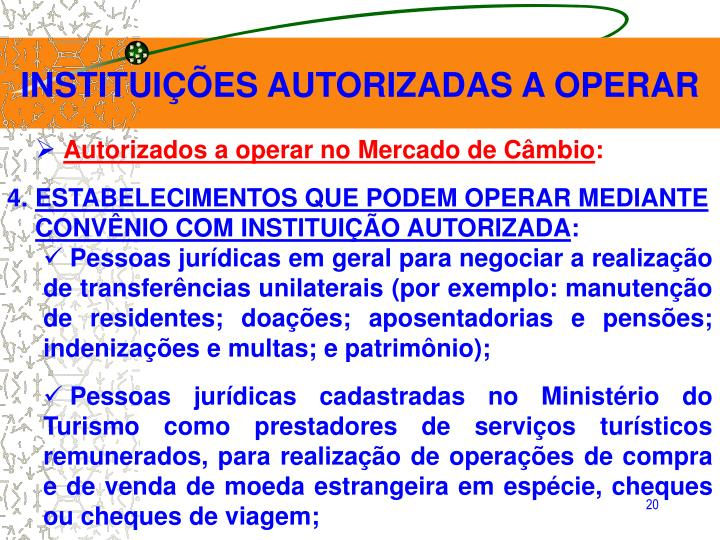 INSTITUIÇÕES AUTORIZADAS A OPERAR