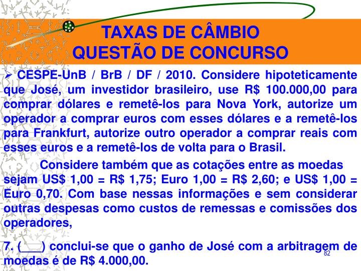 TAXAS DE CÂMBIO