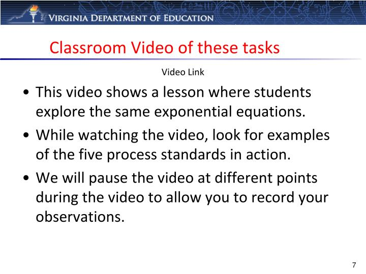 Classroom Video of these tasks