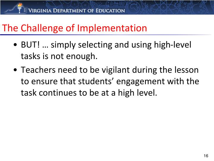 The Challenge of Implementation