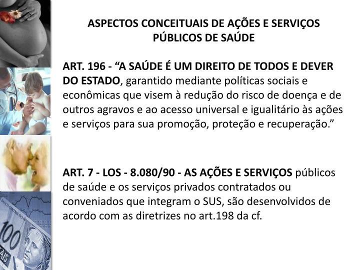 ASPECTOS CONCEITUAIS DE AÇÕES E SERVIÇOS PÚBLICOS DE SAÚDE